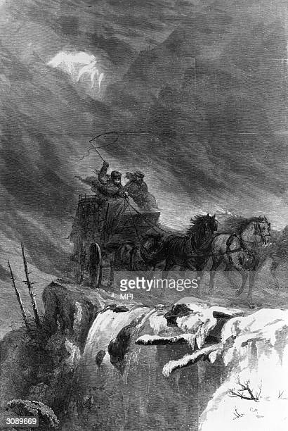 An overland mail coach crossing the Rocky Mountains After a sketch by Theodore R Davis