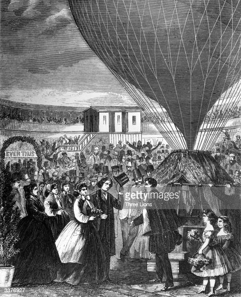 Famous aeronaut Professor Lowe conducts the reception of the bride and groom Mary West Jenkins of St Louis and Professor John F Boynton of Syracuse...