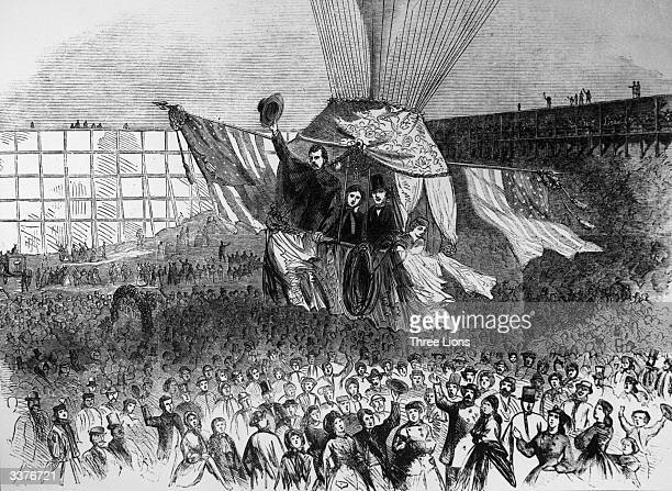Famous aeronaut Professor Lowe waving his hat conducts bridal party balloon trip from Lowe's Amphitheatre in Central Park New York City with the...