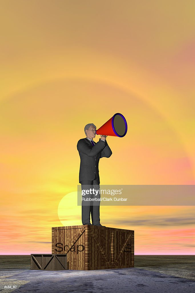 a business man shouts through a megaphone while standing on a soap box : Stockillustraties