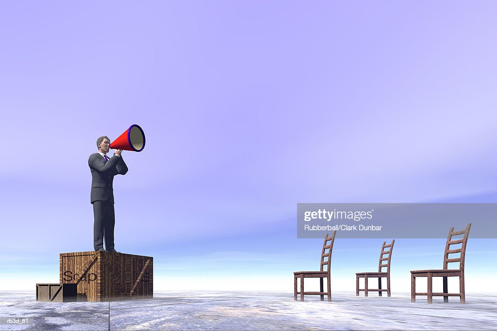 a business man standing on a soap box shouts through a megaphone toward a group of empty chairs : Stock Illustration