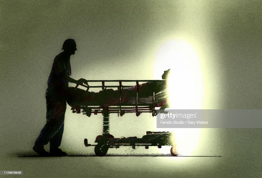 a concept image of a nurse pushing a patient into light symbolising assisted dying : Stock Illustration