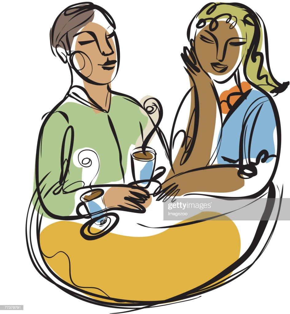 a couple enjoying lattes : Illustration