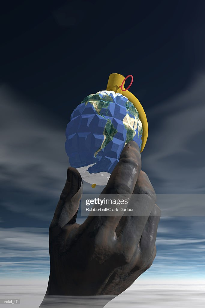 a dark hand holds world grenade against a dark cloudy sky : Stockillustraties