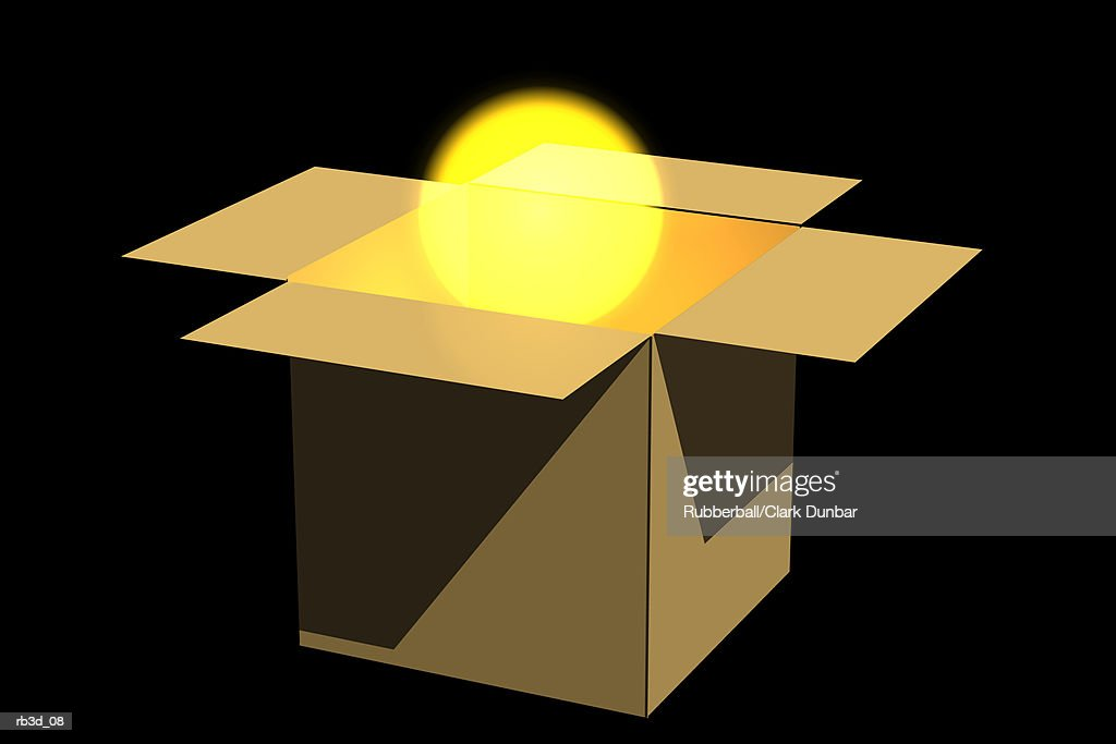 a golden globe rises from a box against a black background : Stockillustraties