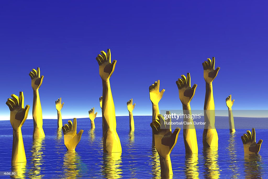 a group of yellow hands reach up out of the water : Stockillustraties