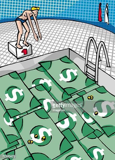a swimming pool made of dollar bills - cash flow stock illustrations, clip art, cartoons, & icons