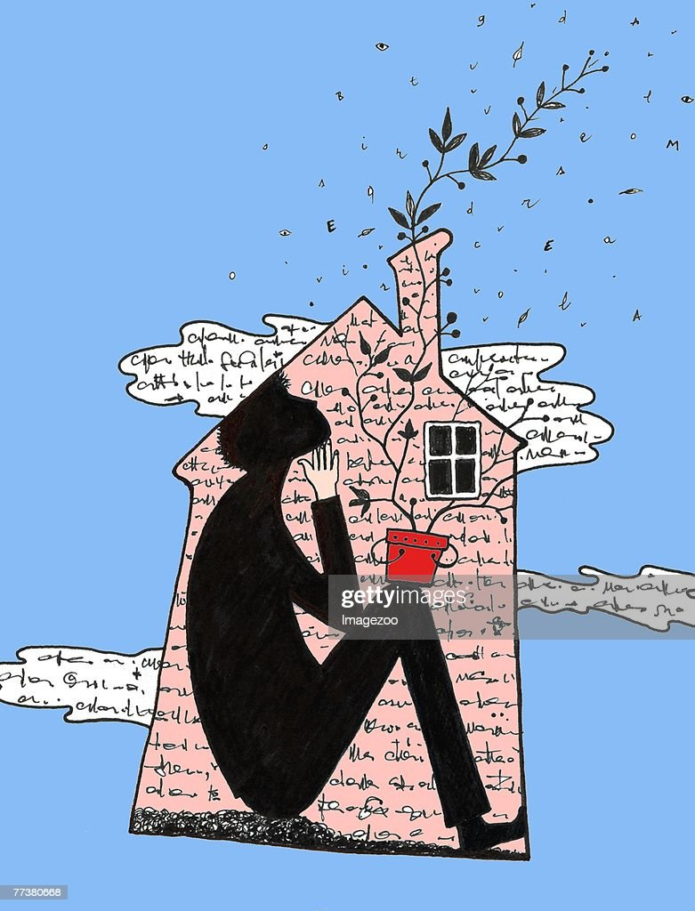 a writer at home : Illustration