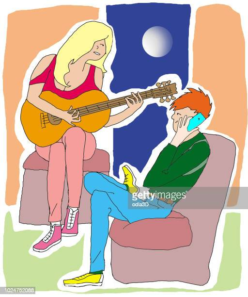a young woman composes songs while he uses the mobile phone - ignoring stock illustrations, clip art, cartoons, & icons