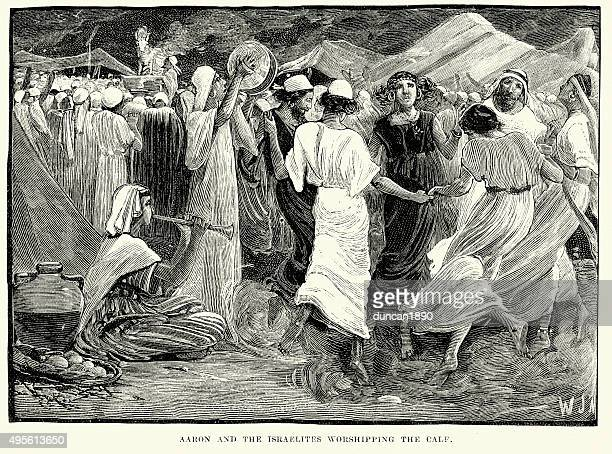 aaron and the israelites worshipping the calf - hebrew script stock illustrations, clip art, cartoons, & icons