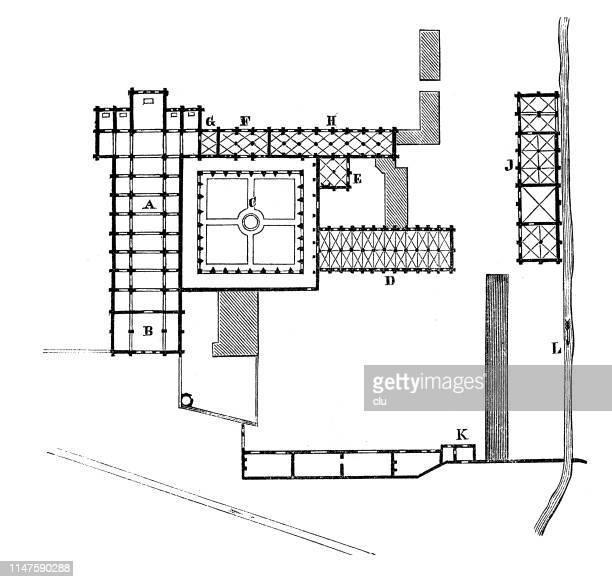 ilustrações, clipart, desenhos animados e ícones de abadia fontenay, planta de assoalho - cisterciense