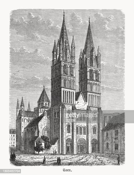 abbey of saint-étienne, caen, normandy, france, wood engraving, published 1893 - normandy stock illustrations