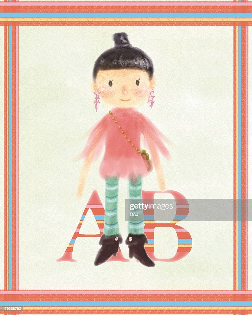 AB-blood-type woman, front view : Stock Illustration