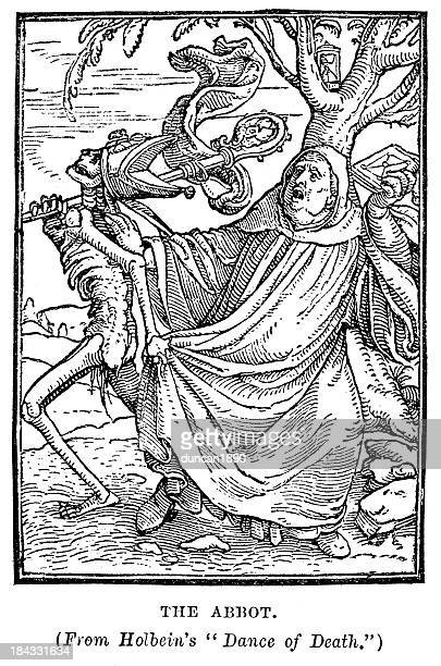 abbot from the dance of death - tarot cards stock illustrations, clip art, cartoons, & icons