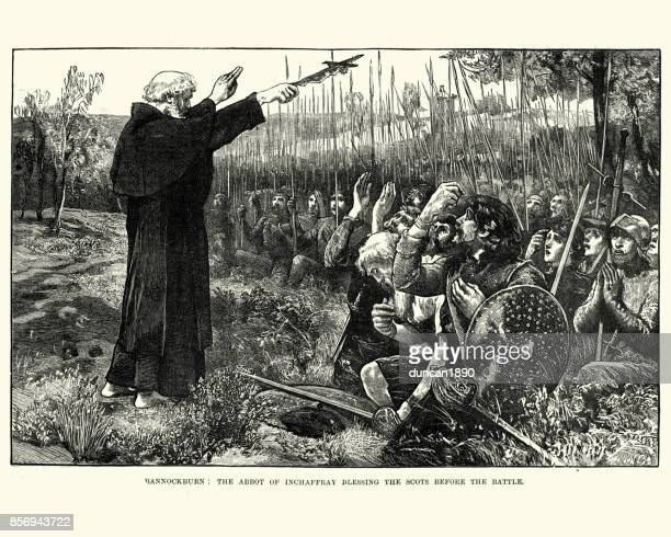 abbot of inchaffray blessing scots before the battle of bannockburn - bishop clergy stock illustrations, clip art, cartoons, & icons