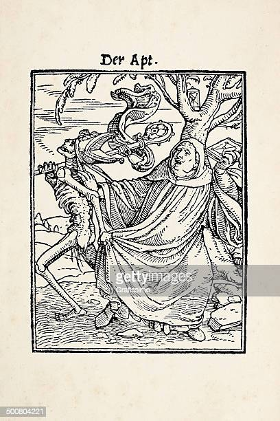 abbot taken from skeleton - dance of death after holbein - bishop clergy stock illustrations, clip art, cartoons, & icons