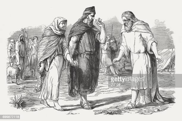 bildbanksillustrationer, clip art samt tecknat material och ikoner med abimelek ger sarah tillbaka till abraham (genesis 20), publicerade 1886 - judendom
