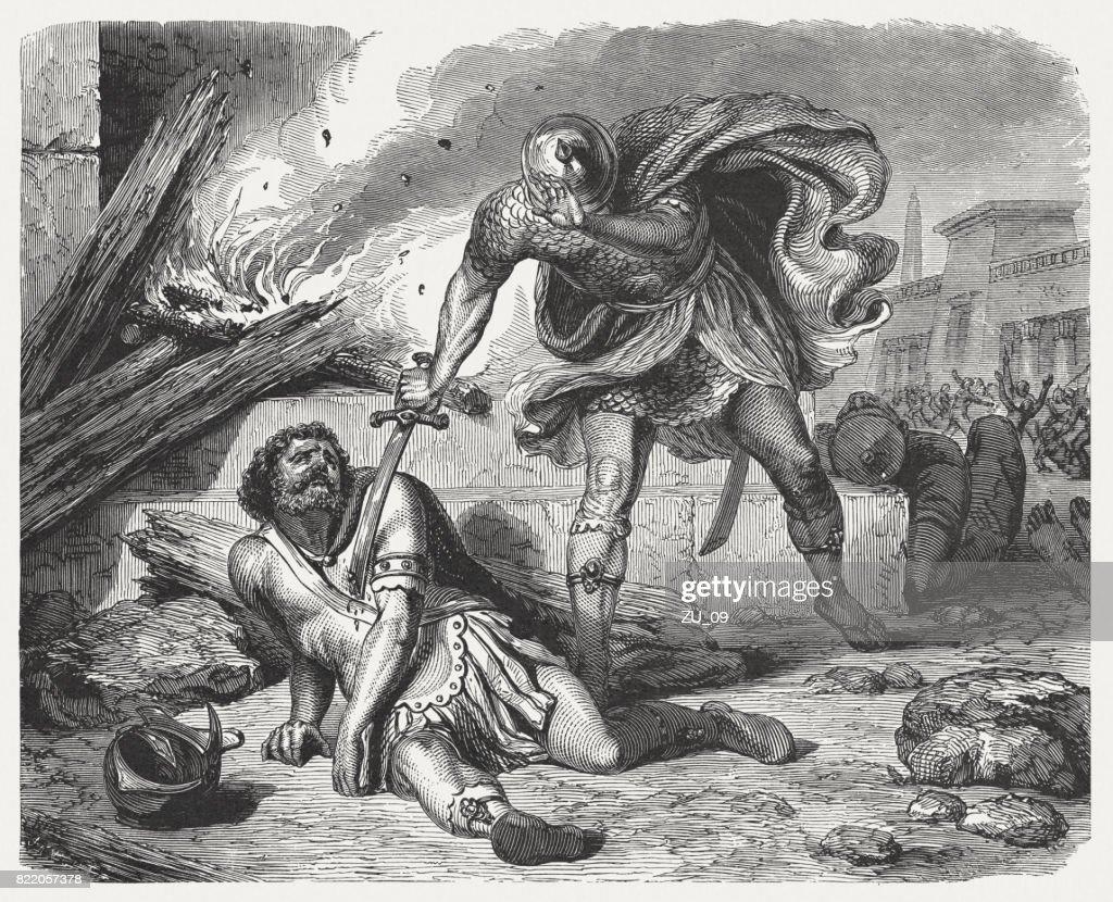 Abimelech's Death (Judges 9, 54), wood engraving, published in 1886 : stock illustration