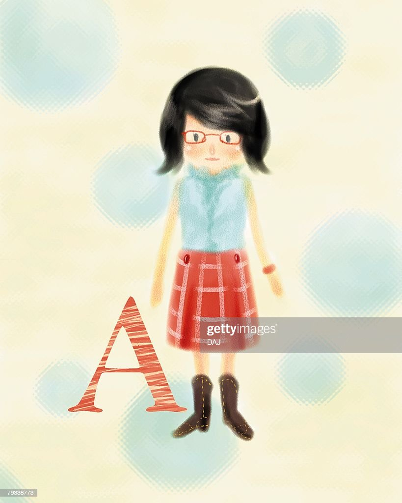 A-blood-type woman with glasses, front view : Stock Illustration