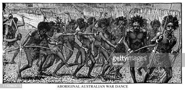aboriginal australian war dance - oceania stock illustrations