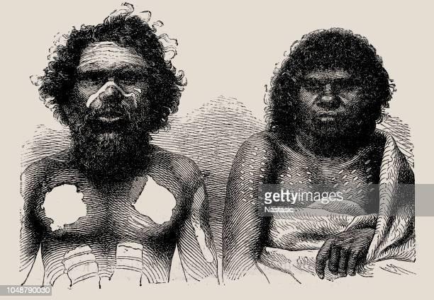 aboriginal australians - artistic product stock illustrations