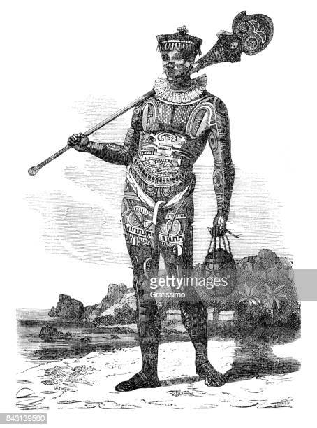 aboriginal on marquesas islands with traditional tattoo 1863 - indian costume stock illustrations, clip art, cartoons, & icons