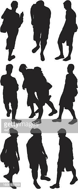 above view of street people - concepts & topics stock illustrations