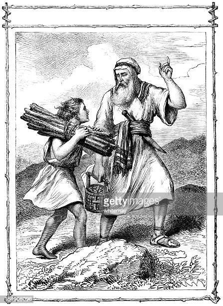 abraham and isaac (victorian illustration) - historical palestine stock illustrations