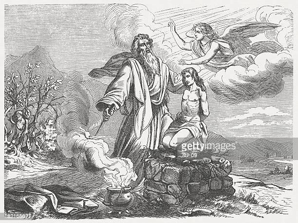 abraham and isaac (genesis 22, 11-13), wood engraving, published 1877 - ram animal stock illustrations, clip art, cartoons, & icons