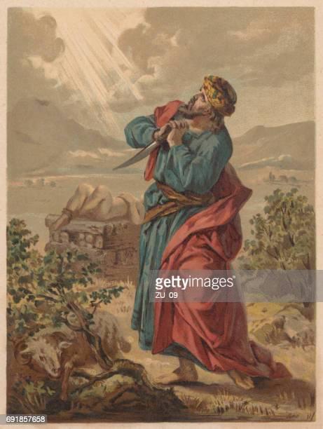 ilustrações de stock, clip art, desenhos animados e ícones de abraham and the sacrifice of isaac (genesis 22), published 1886 - litografia