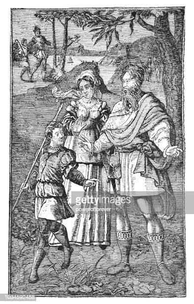 """abraham banishing hagar and ishmael"" italian tapestry (16th century) - biblical event stock illustrations"