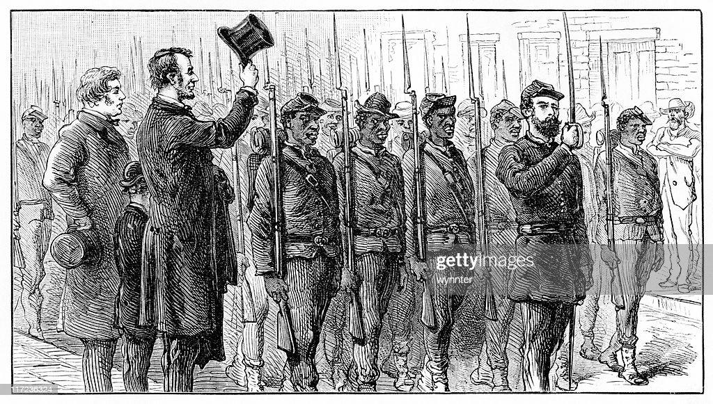 アブラハム・リンカーン、チャールズサムナーサルーテ連合軍 : ストックイラストレーション
