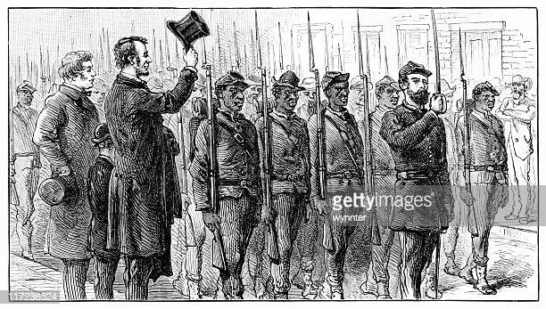 abraham lincoln and charles sumner salute union troops - war stock illustrations