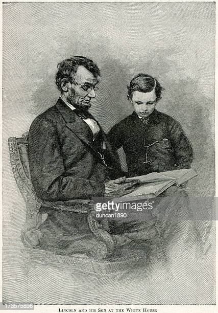 abraham lincoln and son - former stock illustrations, clip art, cartoons, & icons