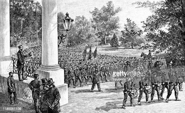 abraham lincoln and troops during the civil war - american civil war stock illustrations