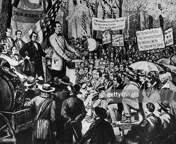 Abraham Lincoln debating with Stephen A. Douglas