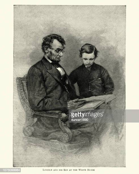 Abraham Lincoln reading a book with his son, 19th Century