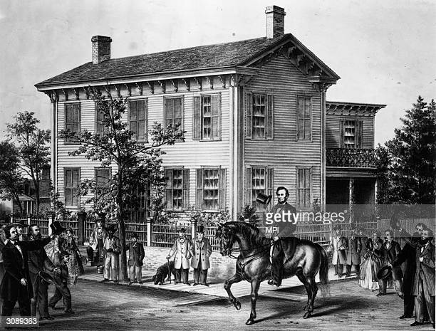 Abraham Lincoln riding his horse through Springfield Illinois upon returning from his successful presidential election campaign against Senator...