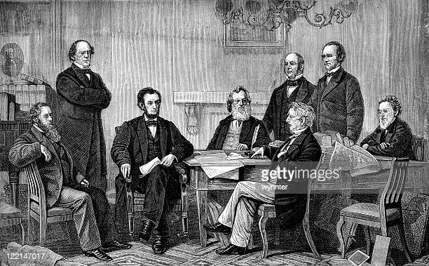 abraham lincoln signs emancipation proclamation - president stock illustrations, clip art, cartoons, & icons