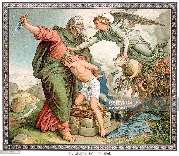 abraham's faith in god - old testament stock illustrations