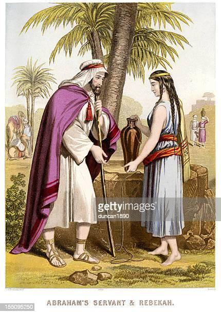abraham's servant and rebecca - hebrew script stock illustrations, clip art, cartoons, & icons