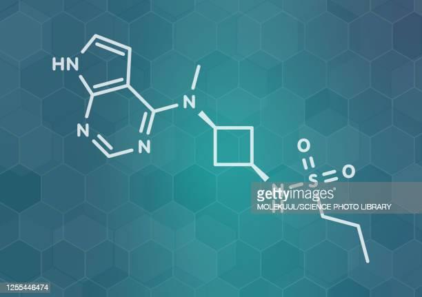 abrocitinib atopic dermatitis drug molecule, illustration - neurodermitis stock-grafiken, -clipart, -cartoons und -symbole