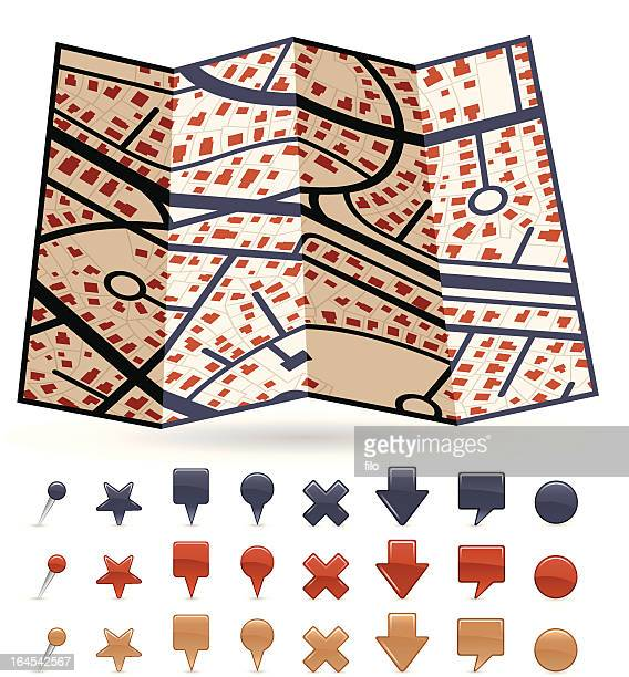 abstract 3d map - x marks the spot stock illustrations