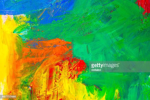 Abstract acrylic painting with Green, yellow, blue and red