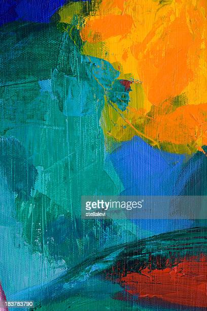 Abstract acrylic painting with yellow, red, blue, and green