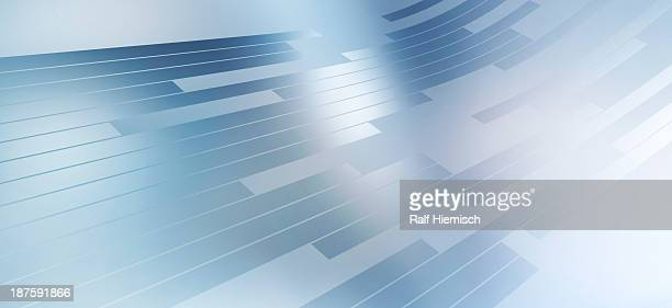 Abstract arrangement of various rectangle shapes moving across a bright blue background