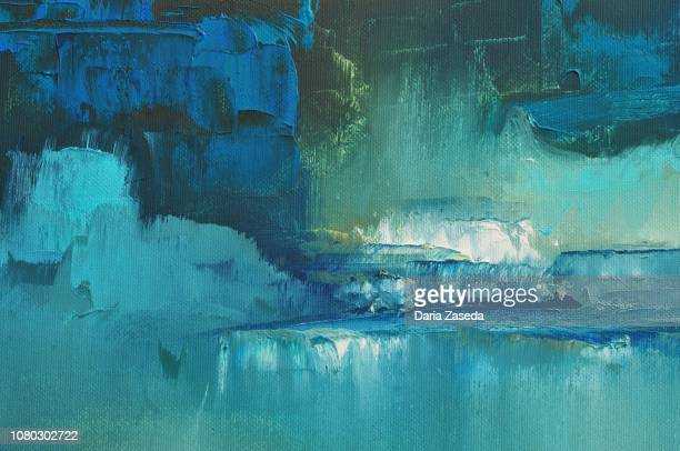 abstract art background white turquoise dark blue green black lime mint - oil painting stock illustrations