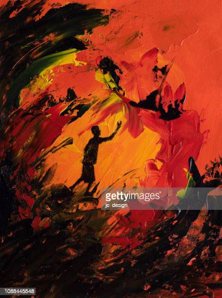 abstract art of boy reaching out through a fire - jaded pictures stock illustrations