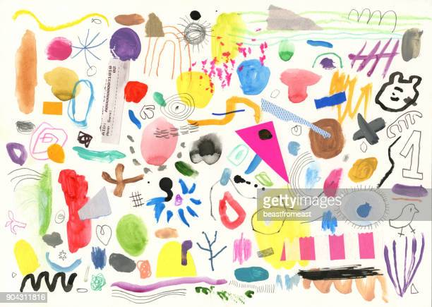 abstract background pattern of painted marks and shapes - composite image stock illustrations
