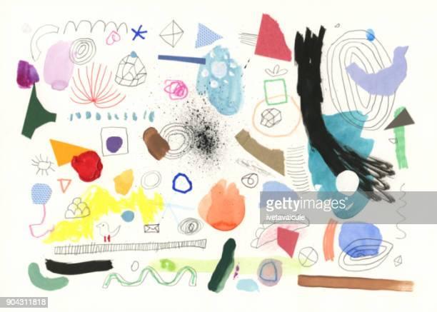 塗装記号と形状の抽象的な背景パターン